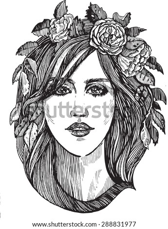 Beautiful woman with roses wreath. Black and white hand drawn illustration.