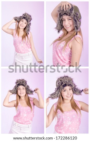 beautiful woman with russian hat set - stock photo