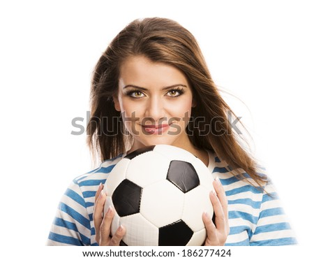 Beautiful woman with soccer ball isolated on white background - stock photo