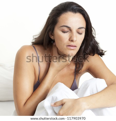 beautiful woman with sore throat - stock photo