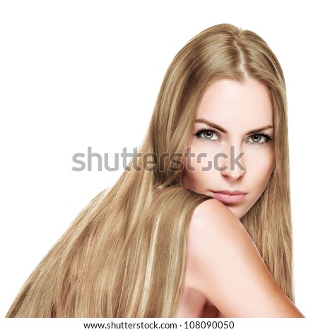 Beautiful Woman with Straight Long  blond Hair - stock photo