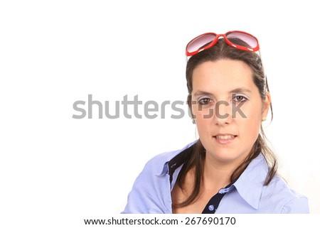 beautiful woman with sunglasses - stock photo
