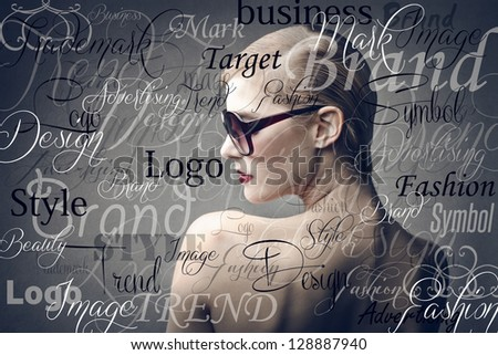 beautiful woman with sunglasses on background