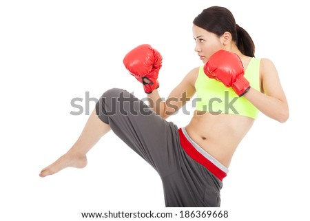 beautiful woman with the red boxing gloves - stock photo