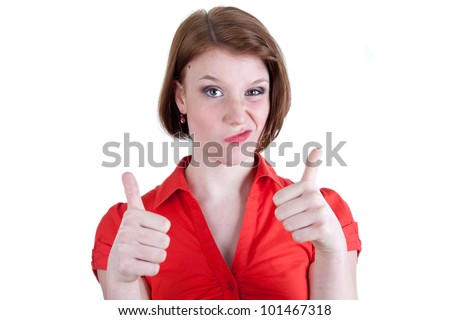 Beautiful woman with thumbs up - stock photo