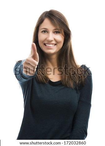 Beautiful woman with thumbs up isolated over a white background - stock photo