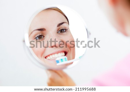 Beautiful woman with toothbrush, dental care concept - stock photo