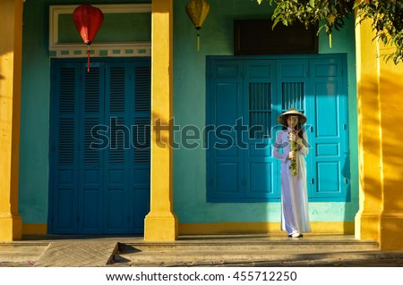 Beautiful  woman with Vietnam culture traditional ,vintage style