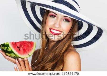 beautiful woman with watermelon - stock photo