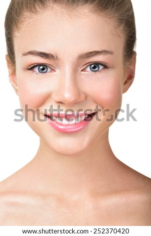 Beautiful woman with white teeth. Attractive sincere smile. Clean face. Perfect skin. - stock photo