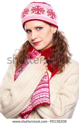 Beautiful woman with winter clothes of  cashmere sweater on isolated background