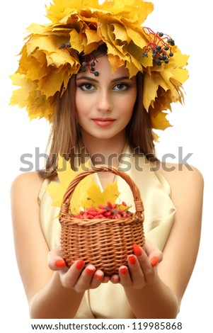beautiful woman with wreath and basket with barberry, isolated on white - stock photo