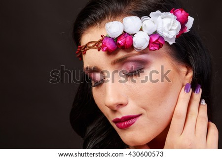 Beautiful woman with wreaths