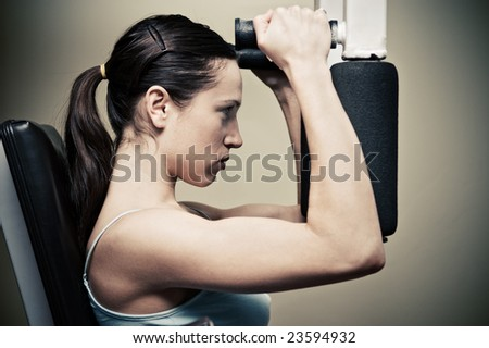 beautiful woman workout in gym - stock photo