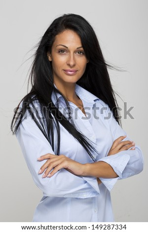 Beautiful woman,30 years old with long black hair  - stock photo