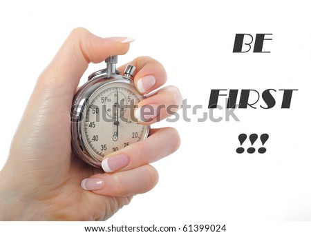 Beautiful womans hand with stop watch. isolated on white background - stock photo