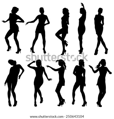 Beautiful women dancing silhouette isolated. Raster version