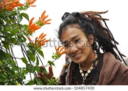 Beautiful Women Hair Flower Dreadlock - stock photo