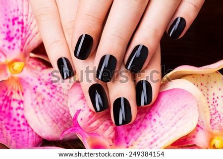Beautiful women hands with black manicure after Spa procedures - Spa treatment concept - stock photo