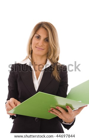 Beautiful women holding an open green folder - stock photo
