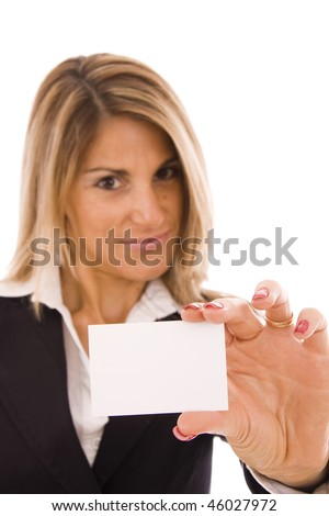 Beautiful women holding her business card