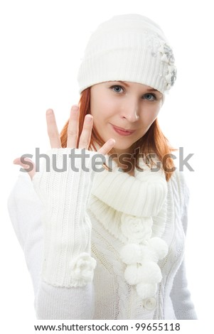 Beautiful women in warm clothing on a white background.