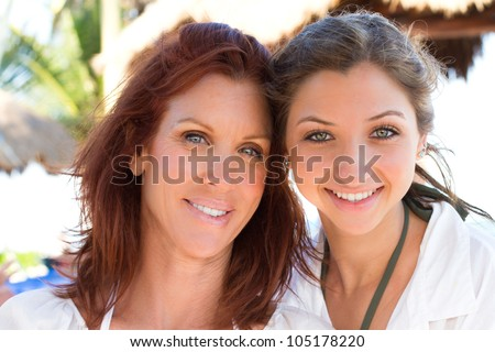 Beautiful Women Mother and Teenage Daughter on vacation - stock photo