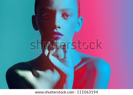 beautiful women portrait invert color and lights - stock photo