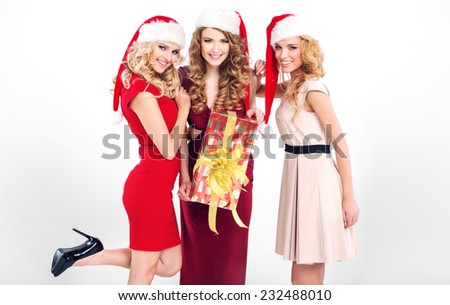 Beautiful women portrait with christmas gifts