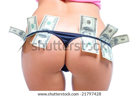 Beautiful women's buttocks in sexy black panties with dollars - stock photo