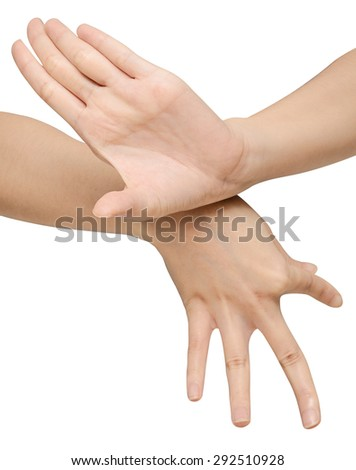 beautiful women's hand is on isolated a white background,thai dance - stock photo