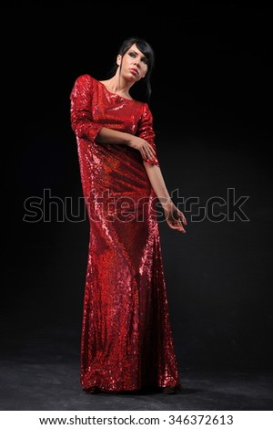 beautiful women wearing red evening dress