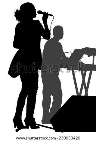 Beautiful women whit microphon on white background - stock photo