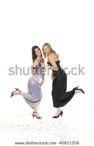 beautiful women with glass with champagne at a new year party - stock photo