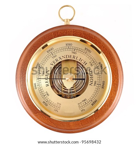 Beautiful wooden and golden  barometer  isolated on white - stock photo