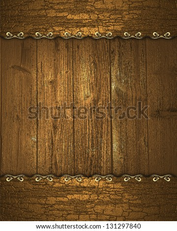 Beautiful wooden background with wooden edge with gold trim
