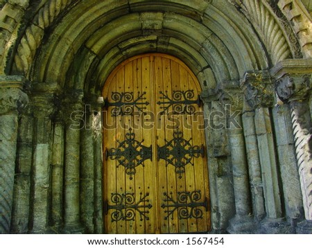 Beautiful wooden church door in downtown Bergen - Norway