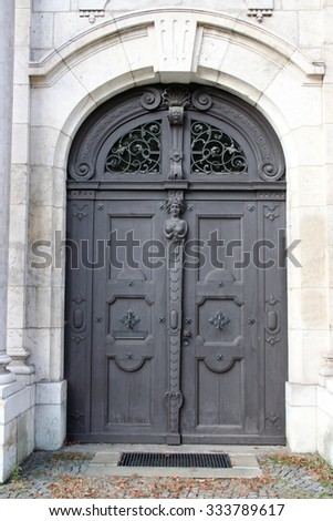 beautiful wooden door of an old house