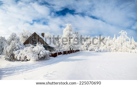 beautiful wooden house in a winter sunny day - stock photo
