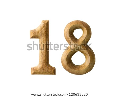 Beautiful wooden numeric with shadow on white background