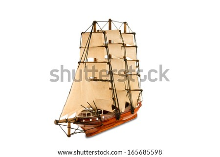 Beautiful wooden ship figurine
