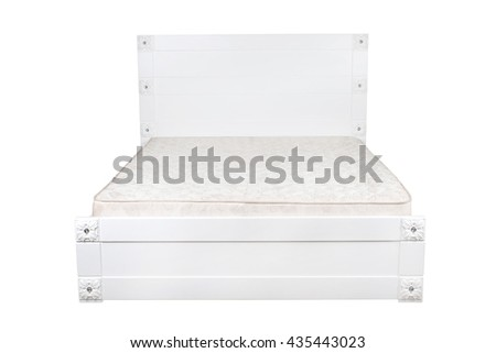 beautiful wooden white bed with a white mattress on white background