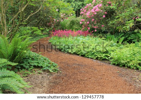 Beautiful woodland garden path in springtime. Also available in vertical. - stock photo