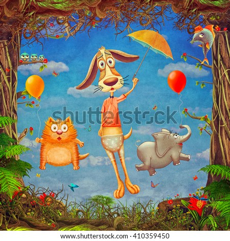 Beautiful woodland scene of  spring frame with  cute  animals in  cloudy sky  , illustration art  - stock photo