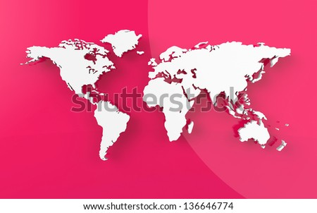 Beautiful world map on red background
