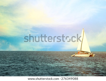Beautiful yacht at open sea - stock photo