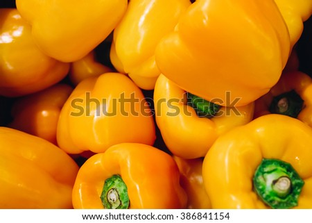 beautiful yellow peppers, fresh vegetables - stock photo