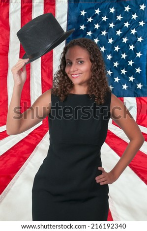 Beautiful young actress dancer wearing a top hat (photo illustration / image composite)  - stock photo