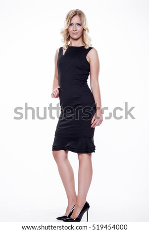 beautiful young adult attractive sexy and sensuality pretty blonde woman elegance business style dress, Isolated on white background