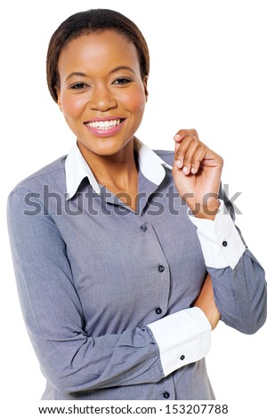 beautiful young african american businesswoman posing on white background - stock photo